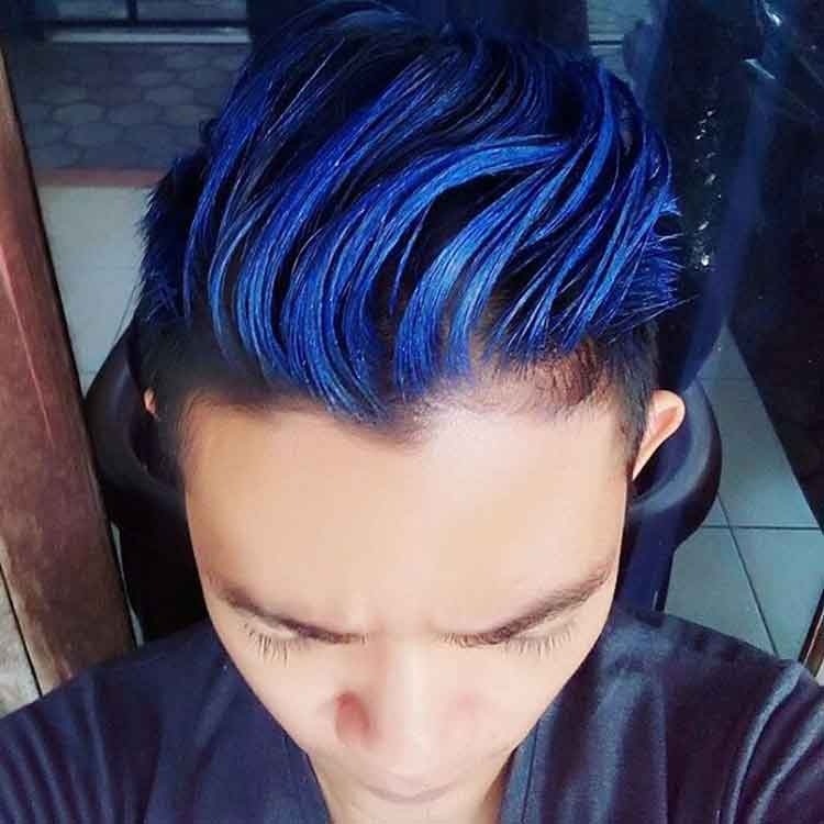 tutorial warna rambut blue black