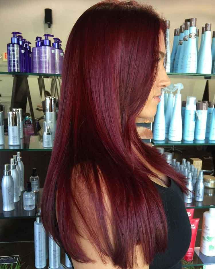 warna rambut burgundy terbaik